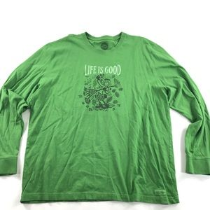 Life Is Good Long Sleeve Fall Leaves Tee Shirt
